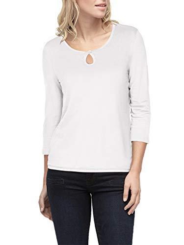ELFIN Damen Langarmshirt Casual Shirt Rundhals Oberteile 3/4-Ärmel T-Shirt Stretch Tunika Top,Weiß,M -