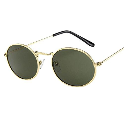 Huhu833 Vintage Sonnenbrille, Mode Unisex Retro Ellipse Metallrahmen Sonnenbrille Trendy Reise Sonnenbrille (E)