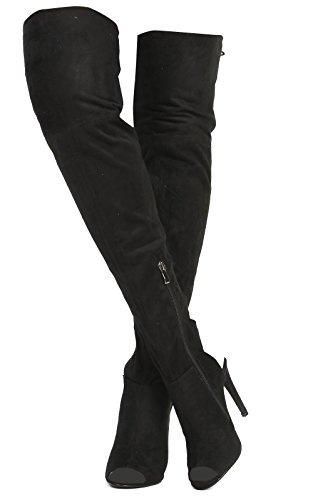 Women's Ladies Lace Up Knee High Boots Black