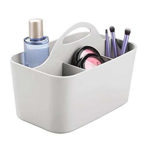 mDesign Kosmetik-Organizer grau - Aufbewahrungsbox mit 4 Fächern - perfekte Schminkaufbewahrung aus robustem Kunststoff - Griff zum Transportieren -