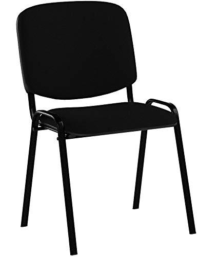 CLP Silla de Visitas Ken en Tela I Silla de Conferencias Apilable I Silla de Reuniones con Capacidad máx. 120 kg I Color: Negro