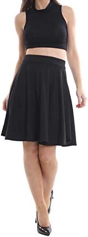 Dames meisjes korte taille plissé Midi Swing uitlopende rok rekbaar