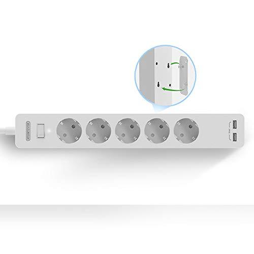 Steckdosenleiste überspannschutz Anschraubbar 5-fach mit Paster NTONPOWER Mehrfachsteckdose mit USB und Schalter Verlängerungskabel 1.5m PC Steckdosenleiste Kindersicherung, weiß(MEHRWEG)