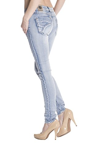 Blue Monkey Damen Skinny Jeans mit Perlen Layla-3745 Blau