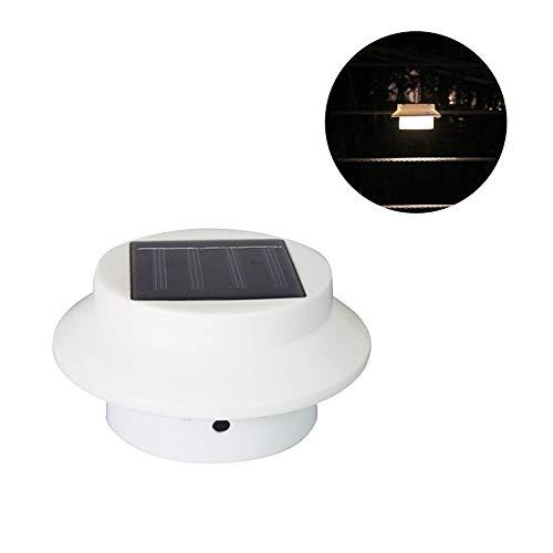 P12cheng Nachtwandleuchte, solarbetrieben, intelligente Lichtsteuerung, für den Außenbereich, Gartenzaun zum Aufhängen, LED-Lampe - weißes Licht, schwarze Schale, Kunstharz, Warmweiß, White Shell
