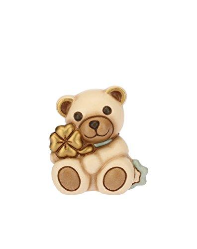 Thun teddy con quadrifoglio azzurro, ceramica, h 5,4 cm