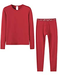 LAPASA Jungen Innenfleece Thermounterwäsche Set Thermounterhemden Thermo-Unterhosen Ski Funktionsunterwäsche für Winter B03