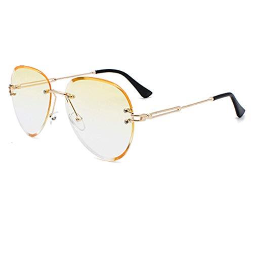OULN1Y Sport Sonnenbrillen,Vintage Sonnenbrillen,Sunglasses Women Rimless Pilot Crystal Sun Glasses Woman Uv400 Gray Gradient Sunglases