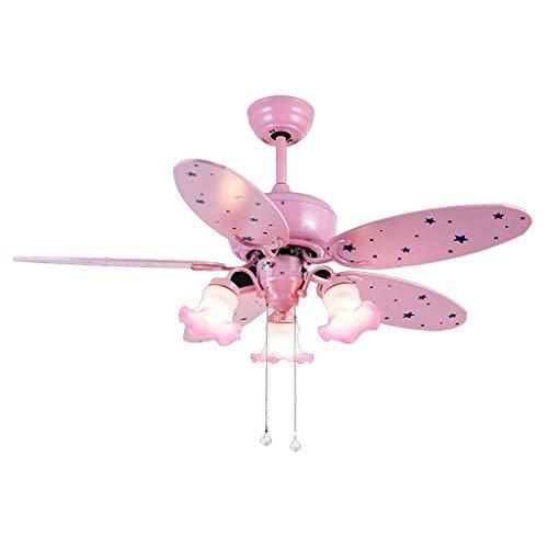 Luce ventilatore a soffitto, con, lampada da letto del fumetto della ragazza carina camera led asilo a + ventilatore a soffitto lampadario per bambini rosa, 43 * 107 centimetri