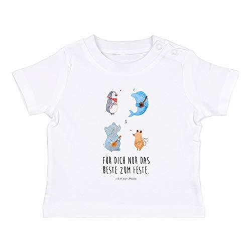 Delfine Erwachsenen T-shirt (Mr. & Mrs. Panda , 6-12 Monate Baby T-Shirt Big Band mit Spruch - Farbe Weiß)