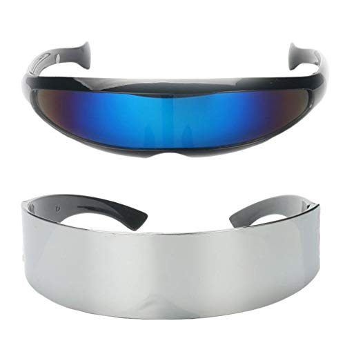cs Fun Metallic Silber Narrow Blue Futuristische Soldat Space Alien Robot Kostüm Sonnenbrille Cosplay Zubehör Photobooth ()