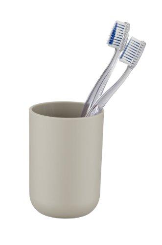 WENKO 21218565 Zahnputzbecher Brasil Taupe - Zahnbürstenhalter für Zahnbürste und Zahnpasta, absolut bruchsicher, Thermoplastischer Kunststoff (TPE), 7.3 x 10.3 x 7.3 cm, Taupe