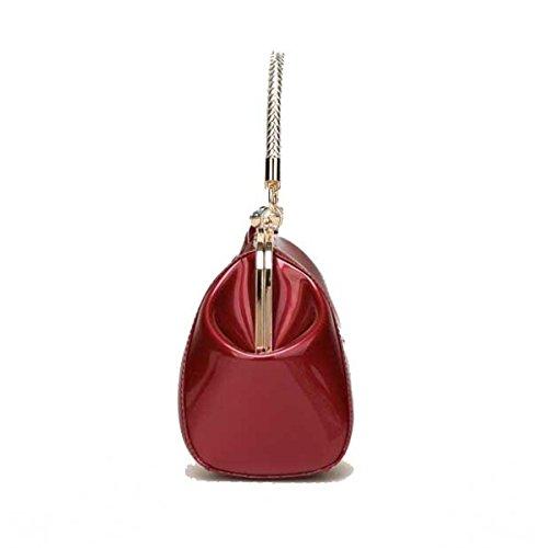 Frauen Mode Umhängetasche Lackleder Diamanten Braut Hochzeit Handtasche Redwine