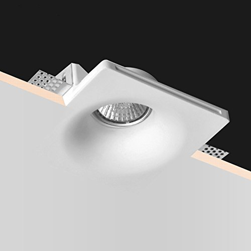 Led Technology - Spot carré encastrable en plâtre avec intérieur conique Volcan pour spots GU10 et GU5.3 avec ressort transparent Bloque Spot + Douille GU10 CSF045