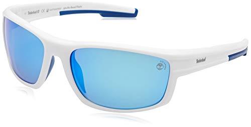 Timberland tb9171 occhiali da sole, white/smoke polarized, 63 uomo