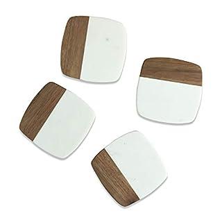 Lunar Oceans Marble & Acacia Wood Coasters Set of 4