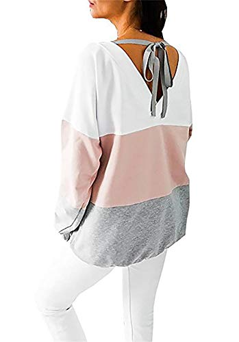 Damen Sweatshirt Langarmshirt V-Ausschnitt Pullover Casual Sport Shirt Oberteile mit Tie Back, Rosa, S