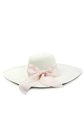 Plage de soleil pliable bord large chapeau féminines chapeau de paille white