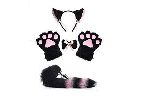 Katzen-Kostüm mit Fuchs-Schwanz-Ohren und Pfotenabdrücken, -