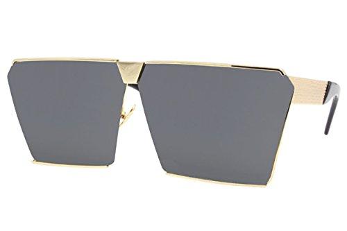 Cheapass Sonnenbrille Damen Gold Grau Rechteckig Designer-Brille Groß XXL UV400 Festival Fashioin Damen