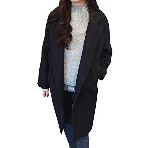 (TUDUZ Damen Zweireiher Winter warme Lange Ärmel Wolljacke Mantel mit Taschen)