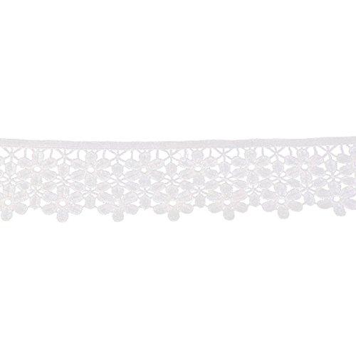 Ribete de costura Rosenice de 8cm bordado con encaje de flores (color blanco)