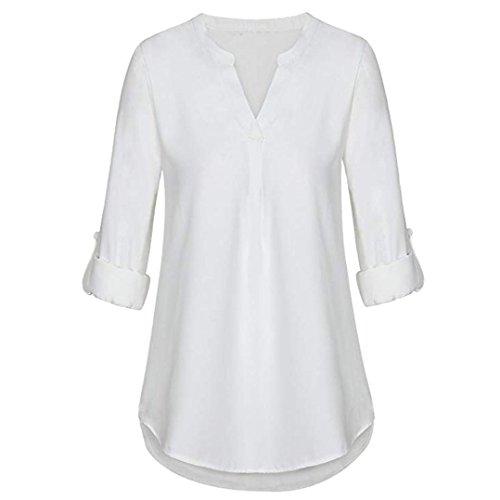 SEWORLD 2018 Damen Mode Sommer Herbst Schal Elegant Lose Täglich Chiffon Lose Langarm Solide V-Ausschnitt Gefesselt Shirt Bluse Tops(X-a-weiß,EU-38/CN-S)