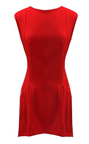 Rot (Pinafore Dress) Skaterkleid/Tunika, ärmellos & kragenlos mit großen Taschen. Gr. 46