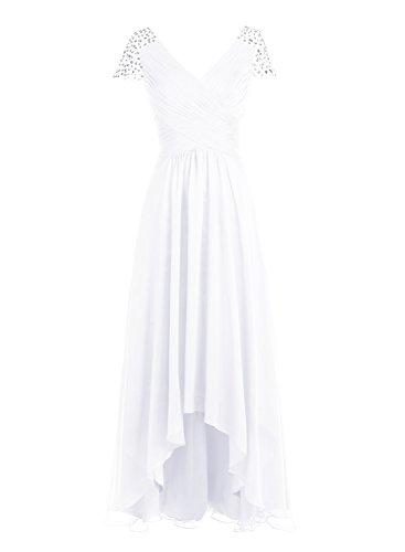 Bbonlinedress Robe de cérémonie Robe de demoiselle d'honneur asymétrique col en V longueur ras du sol Blanc