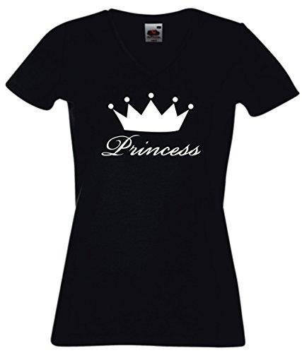 T-Shirt Damen V - Ausschnitt schwarz - PRINCESS - Queen Crown Tiara - XL