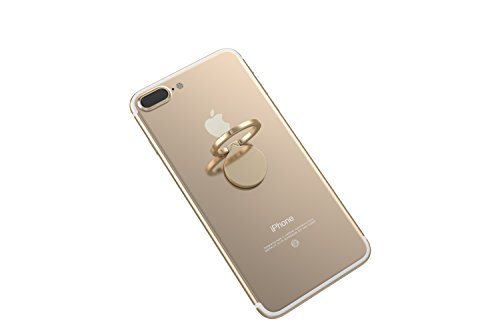 Kronya® | 360° drehbarer Smartphone Fingerhalter | Auto Case Finger Fitness Griff Halter Halterung Handy Hülle Ring Ringhalter Sport Ständer Tablet Apple iPhone iPad Samsung Galaxy 4 (Gold)