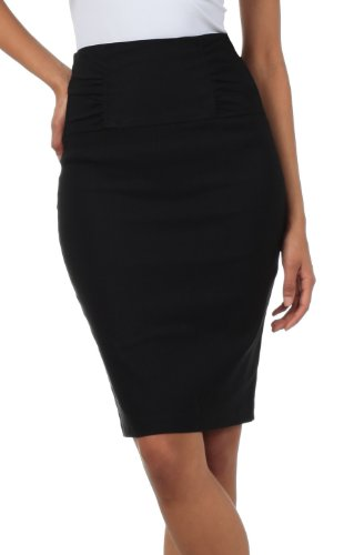 Sakkas IMI-5235 Petite High Taille Stretch Bleistift Rock mit Shirred Taille Detail - Schwarz / 2X 2x Bleistift-rock