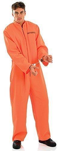 Herren Orange Overall Blaumann Sträfling Gefangener Death Reihen Halloween Kostüm Kleid Outfit Medium-XL - Orange, (Overall Gefangener Kostüm Halloween Orange)