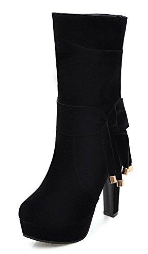 Aisun Femme Sexy Noeud Mi-Mollet Plateforme Bottines Noir