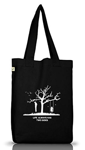 Shirtstreet24, Life Always Has Two Sides, Jutebeutel Stoff Tasche Earth Positive (ONE SIZE) Black