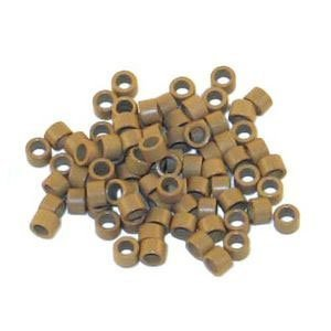 Professional Screw Microring 4mm Light Brown, 100 Pcs Screw Thread Micro Ring Locks for I Stick Tip Human Hair Extension Installation by Dashing