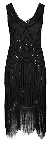 Ro Rox 1920er Jahre Great Gatsby Kleid - Schwarz (S - 36) (1920 Kleider S)