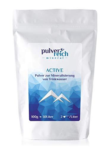 Pulverreich Active - Elektrolyte pur für Sport und Reisen - Mineralien zuckerfrei, ohne Aroma, optimal für Wassersprudler oder Trinksysteme, Pulver (100g)
