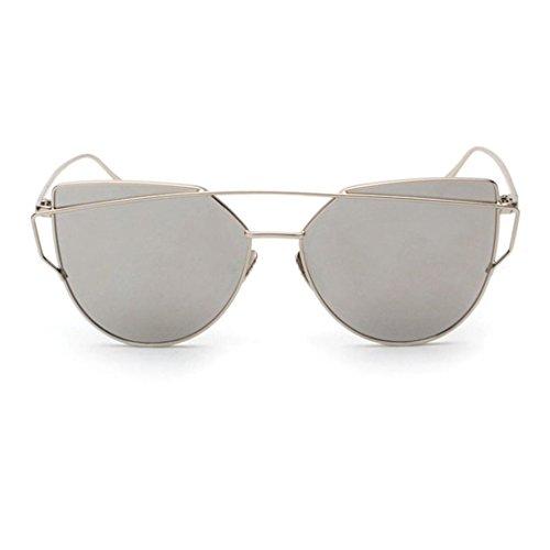 Atdoshop Twin-Träger klassische Frauen Metallrahmen Spiegel Sonnenbrille Cat Eye Brillenmode (Mädchen Weiß Handschuhe Silber Glitzer)