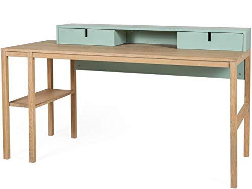 Sesi Design Schreibtisch 155 cm Arbeitstisch Bürotisch PC Computertisch Pastell Mint Grün Kiefer Eiche Holz, Modernes Design, Retro Look, 2 Schubladen