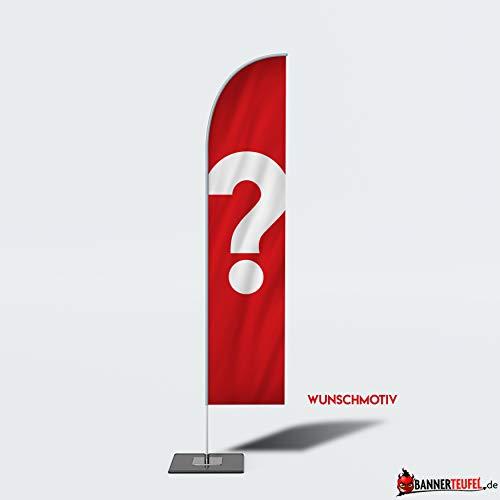 Bannerteufel Beachflag WUNSCHMOTIV Außenschild Neueröffnung Werbung Messestand Fahne Kundenstopper DIY Winddurchlässig in verschiedenen Größen, XL (360 cm)