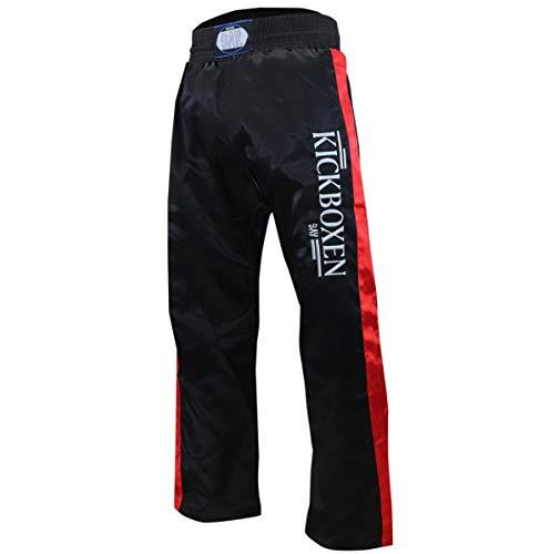 """BAY®® """"EDEL STICK Kickboxhose, Größe 170, schwarz mit roten Seitenstreifen, gestickte Schrift KICKBOXEN, Thaiboxhose lang, Hose Kick-Boxen Thaiboxen Muay Thai, Satinhose, rot"""