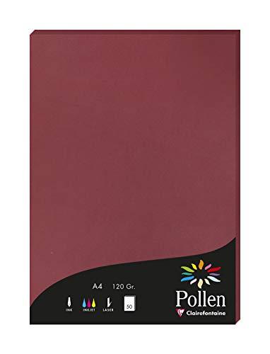 Clairefontaine 4293C Packung mit 50 Karten Pollen 120g, DIN A4, 21 x 29,7cm, Bordeaux