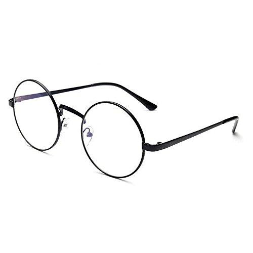 Brille Ohne Sehstärke Unisex Damen Herren Rund Brillen Rund Brillen Metallrahmen Spiegel Abgerundete Gläser Männer und Frauen Mode Bekleidungs Zubehör Sportbrillen Schutzbrille (A)