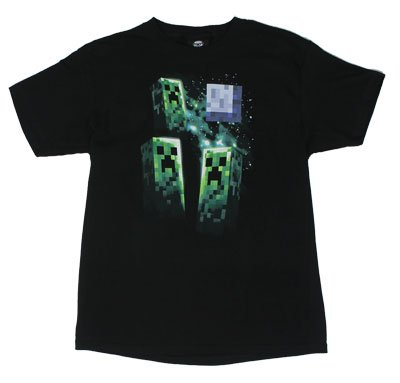 JINX Minecraft Three Creeper Moon T-Shirt Schwarz - -