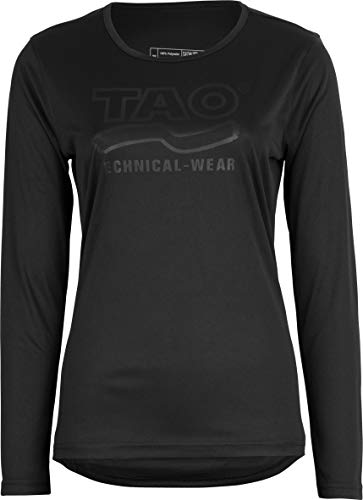 TAO Sportswear Atmungsaktives Damen Funktionsshirt Langarm mit Prägedruck WEGA Black 46