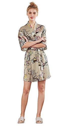imono Kran und Pflaumendruck Satin Nachthemd Nachtwäsche Schlafanzug Robe Satin Kurze Robe Negligee Frauen Bademantel Sommer mit Gürtel, Kamel, M ()