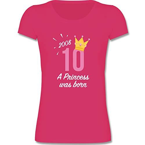 Geburtstag Kind - 10 Geburtstag Mädchen Princess - 110-116 (5-6 Jahre) - Fuchsia - F288K - Mädchen T-Shirt