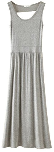 URqueen Women's Back Hollow Out Pleated Swing Summer Maxi Dress Light Grey