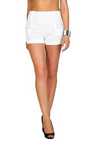 Futuro Fashion été Taille Haute Sophistiquée Trendy Short avec poches et Boutons Taille 8-18 UK PA08 - Blanc, EU 44